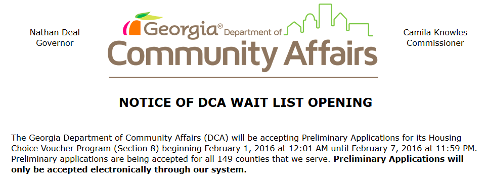 APN ATLANTA The Georgia Department Of Community Affairs DCA Opened Its Wait List For Rental Vouchers To New Applicants Statewide And Results Have